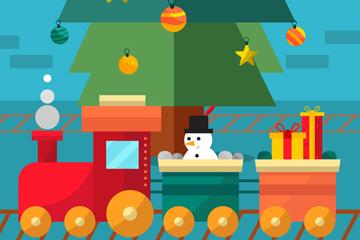 扁平化圣诞节玩具火车矢量素材
