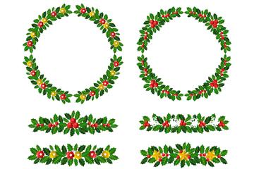 6款彩�L圣�Q�花�和花�h矢量�D