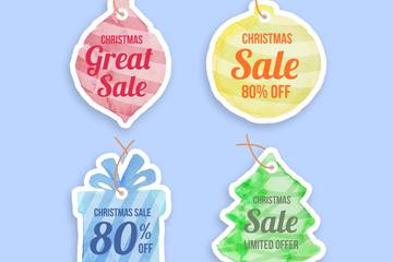4款彩色圣诞节促销吊牌矢量图