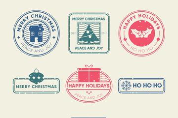 9款复古圣诞节邮戳矢量图