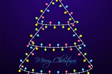 创意彩灯串圣诞树矢量素材