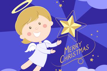 可爱金发圣诞节天使矢量素材