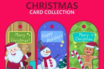 3款创意圣诞节吊牌卡片矢量素材