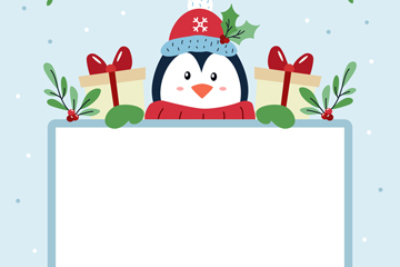 可爱扶空白纸板的企鹅矢量素材