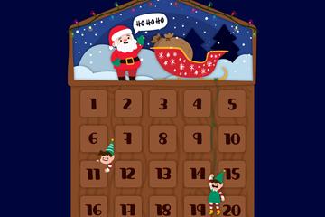 可爱圣诞老人月历设计矢量素材