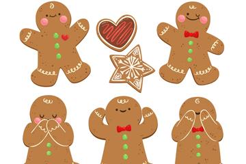 5款可爱圣诞节姜饼人矢量图