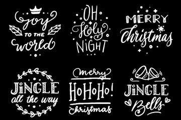 6款粉笔绘圣诞节标签矢量素材
