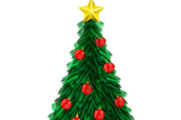 逼真绿色圣诞树设计矢量素材