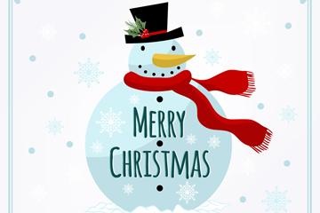 彩绘风中的圣诞雪人矢量素材