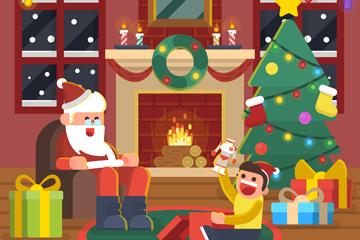 创意圣诞夜客厅里的圣诞老人和孩子矢量图