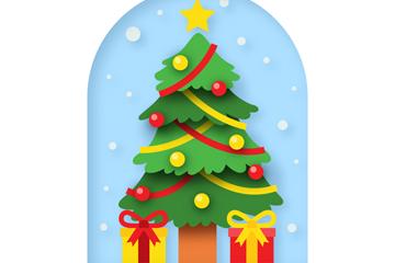创意绿色圣诞树和礼盒矢量图