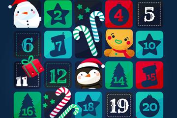 可爱圣诞月月历设计矢量素材