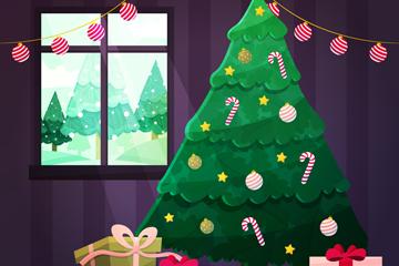 创意客厅里的圣诞树矢量素材
