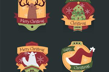 4款创意圣诞节标签矢量素材