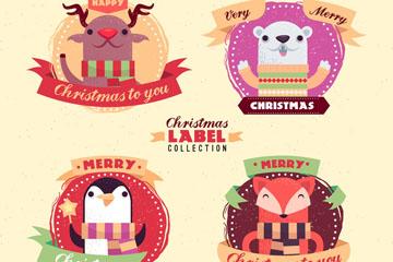4款可爱圣诞动物标签矢量素材