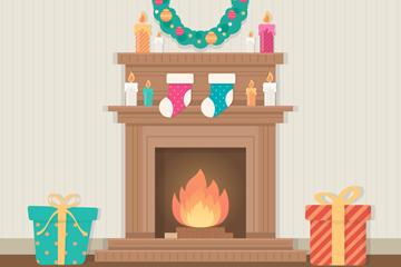 创意圣诞客厅壁炉矢量素材