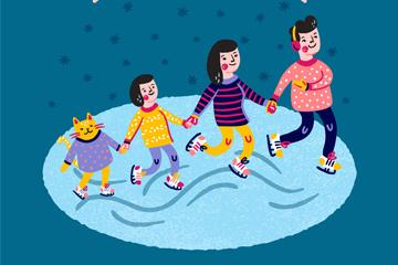 彩绘假期滑冰的三口之家矢量图