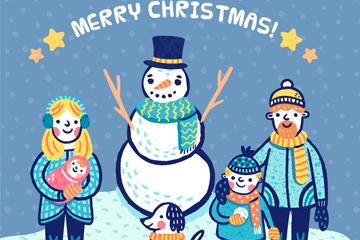 彩绘圣诞节四口之家和雪人矢量图