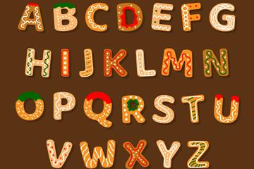 26个创意大写字母饼干矢量素材