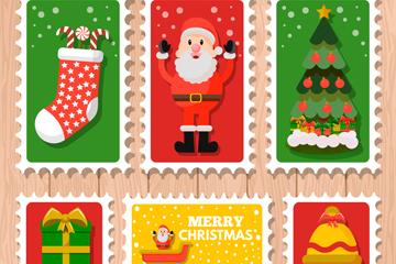 6款彩色圣诞邮票设计矢量素材