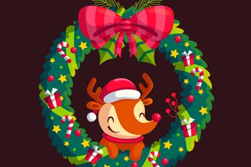 可爱圣诞花环里的笑脸狐狸矢量素材