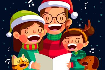 创意唱歌的圣诞三口之家矢量素材
