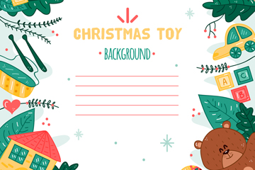 彩绘圣诞玩具边框信纸矢量素材