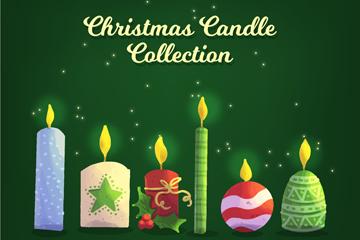 6款彩色圣诞蜡烛设计矢量图