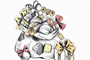 彩绘装满礼物的圣诞包裹矢量素材