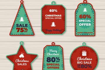 6款红绿拼色圣诞节促销吊牌矢量素材