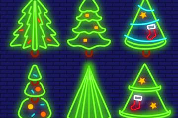 6款创意霓虹灯圣诞树设计矢量素材