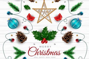 创意白色木板上的圣诞元素矢量图