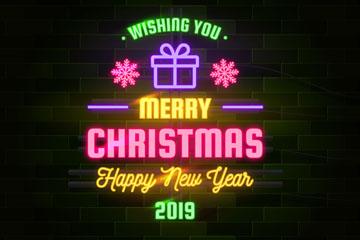 彩色圣诞新年霓虹灯矢量素材