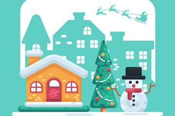 创意圣诞小城房屋和雪人矢量素材