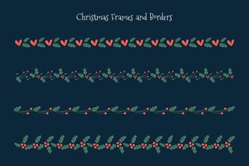 6款创意圣诞节花边矢量素材