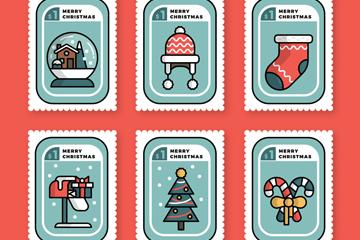 6款白边圣诞节邮票矢量素材