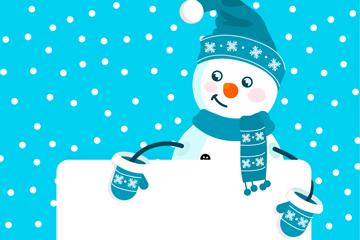 可爱扶空白纸板的雪人矢量素材