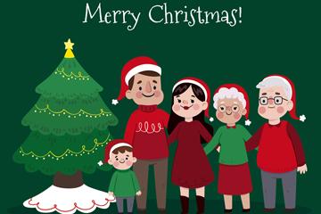 卡通圣诞树旁的五口之家矢量图