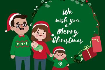 卡通圣诞节四口之家矢量素材