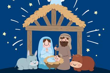 卡通基督诞生场景矢量素材