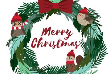 可爱圣诞节花环和动物矢量图
