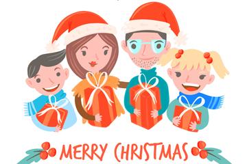 创意圣诞节抱礼物的四口之家矢量图