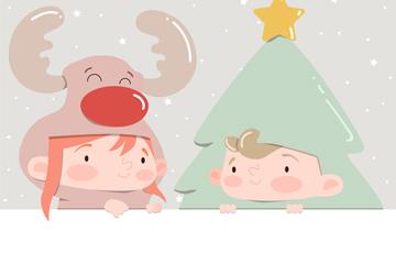2个圣诞装扮儿童设计矢量素材