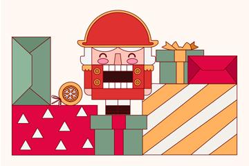 创意圣诞礼物堆和玩具锡兵矢量图