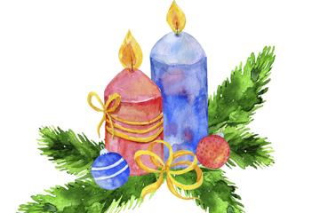 彩绘松枝和蜡烛矢量素材