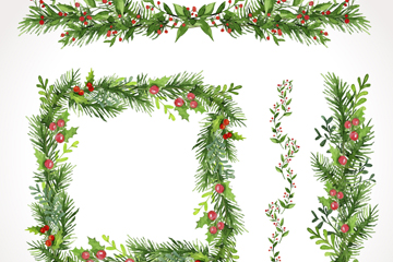4款绿色冬青花边和框架矢量图