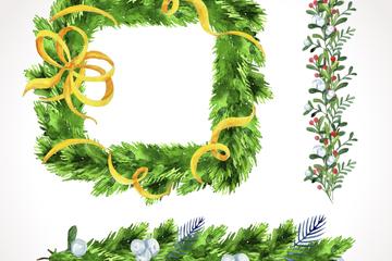 3款彩绘绿色松枝花边和框架矢量