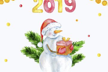 彩绘2019年怀抱礼物的雪人矢量图