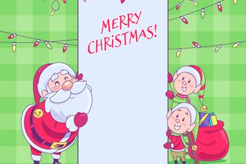 可爱微笑圣诞老人和精灵矢量图