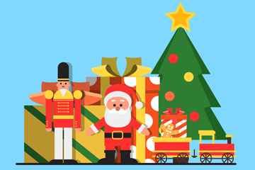 可爱圣诞树下的玩具矢量素材